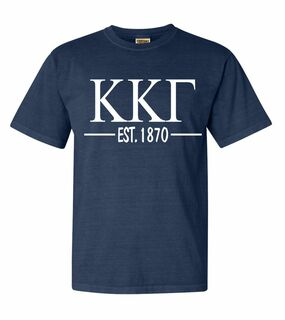 Kappa Kappa Gamma Custom Greek Lettered Short Sleeve T-Shirt - Comfort Colors