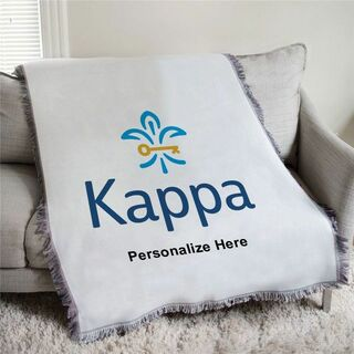 Kappa Kappa Gamma fleur de lis Afghan Blanket Throw