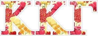 """Kappa Kappa Gamma Floral Greek Letter Sticker - 2.5"""" Tall"""