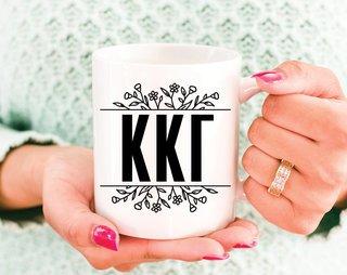 Kappa Kappa Gamma Floral Letters Mug