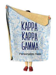 Kappa Kappa Gamma Floral Sherpa Lap Blanket