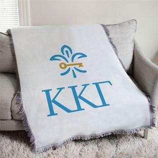 Kappa Kappa Gamma Greek Letter Afghan Blanket Throw