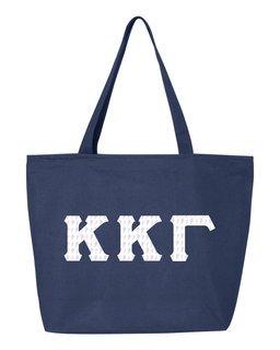 Kappa Kappa Gamma Greek Letter Zipper Tote