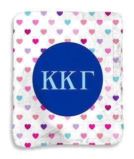 Kappa Kappa Gamma hearts Sherpa Lap Blanket