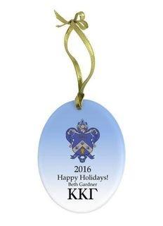 Kappa Kappa Gamma Holiday Color Crest - Shield Glass Ornament