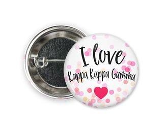 Kappa Kappa Gamma I Love Heart Bursting Button