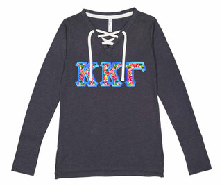 0c8e7051 Kappa Kappa Gamma LAT - Sorority Fine Jersey Lace-Up Long Sleeve T-Shirt