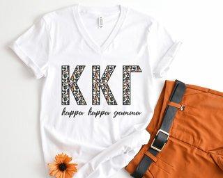 Kappa Kappa Gamma Leopard V-Neck Tee
