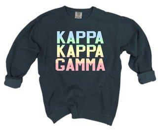 Kappa Kappa Gamma Pastel Rainbow Crew - Comfort Colors