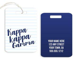 Kappa Kappa Gamma Personalized Striped Luggage Tag