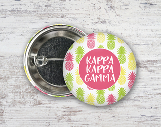 Kappa Kappa Gamma Pineapples Button
