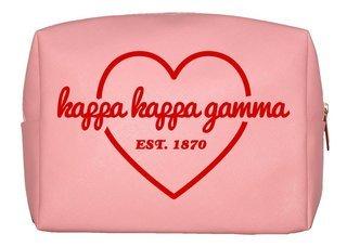 Kappa Kappa Gamma Pink with Red Heart Makeup Bag