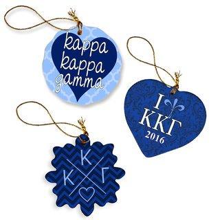 Kappa Kappa Gamma Porcelain Ornament Trio Set