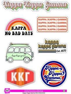 Kappa Kappa Gamma Retro Sticker Sheet