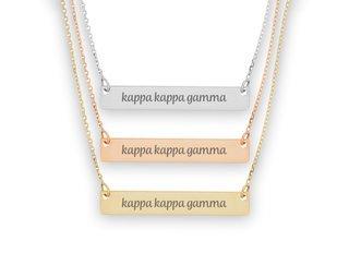 Kappa Kappa Gamma Script Bar Necklace