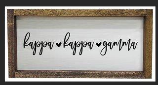 Kappa Kappa Gamma Script Wooden Signs