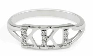 Kappa Kappa Gamma Sterling Silver Ring set with Lab-Created Diamonds