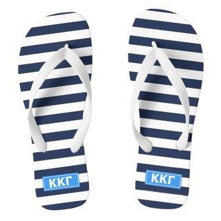 Kappa Kappa Gamma Striped Flip Flops