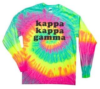 Kappa Kappa Gamma Tie-Dye Minty Rainbow Long-Sleeve T-Shirt