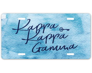 Kappa Kappa Gamma Watercolor Script License Plate