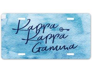 Kappa Kappa Gamma Watercolor Script License Plate