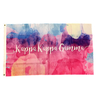 Kappa Kappa Gamma Watercolor Sorority Flag