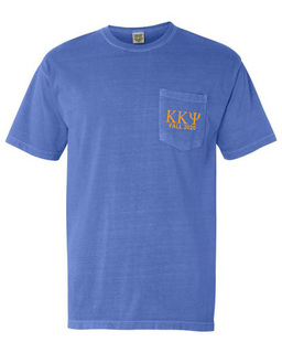 Kappa Kappa Psi Greek Letter Comfort Colors Pocket Tee