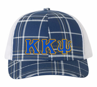 Kappa Kappa Psi Plaid Snapback Trucker Hat - CLOSEOUT