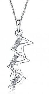 Kappa Kappa Psi Sweet Heart Diagonal Silver Lavalier