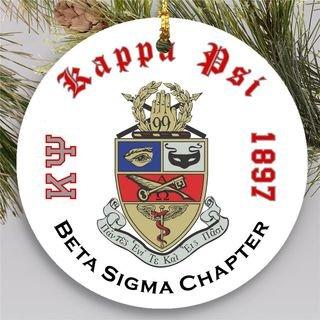 Kappa Psi Round Christmas Shield Ornament
