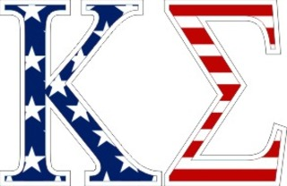 "Kappa Sigma American Flag Greek Letter Sticker - 2.5"" Tall"