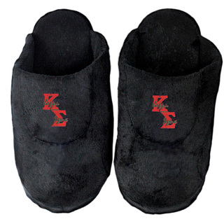 DISCOUNT-Kappa Sigma Black Solid Letter Slipper
