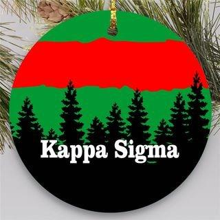 Kappa Sigma Christmas Mountains Round Ornaments