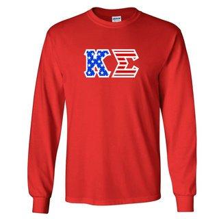 DISCOUNT-Kappa Sigma Greek Letter American Flag long sleeve tee