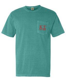 Kappa Sigma Greek Letter Comfort Colors Pocket Tee