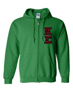 "Kappa Sigma Heavy Full-Zip Hooded Sweatshirt - 3"" Letters!"