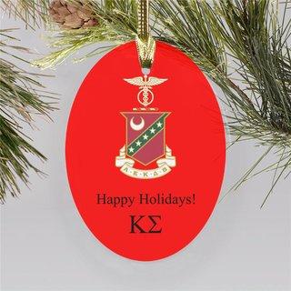Kappa Sigma Holiday Color Crest - Shield Ornament