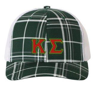 Kappa Sigma Plaid Snapback Trucker Hat - CLOSEOUT