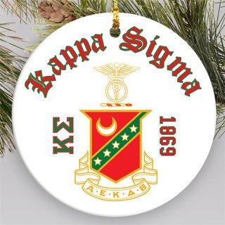 Kappa Sigma Round Christmas Shield Ornament