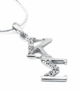 Kappa Sigma Sterling Silver Diagonal Lavaliere set with Lab-Created Diamonds