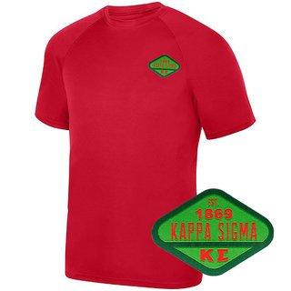 DISCOUNT-Kappa Sigma Woven Emblem Greek Dry Fit Wicking Tee