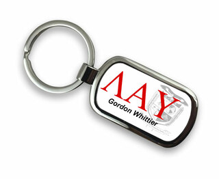 Lambda Alpha Upsilon Chrome Crest - Shield Key Chain