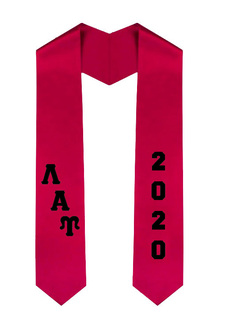 Lambda Alpha Upsilon Greek Diagonal Lettered Graduation Sash Stole With Year