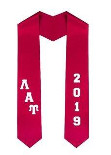 Lambda Alpha Upsilon Greek Diagonal Lettered Graduation Sash Stole With Year