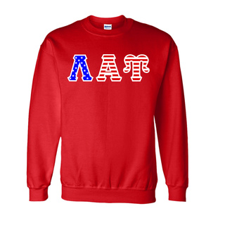 Lambda Alpha Upsilon Greek Letter American Flag Crewneck