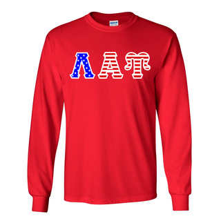 Lambda Alpha Upsilon Greek Letter American Flag long sleeve tee