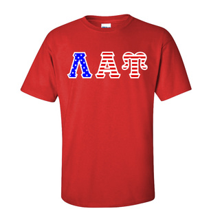 Lambda Alpha Upsilon Greek Letter American Flag Tee