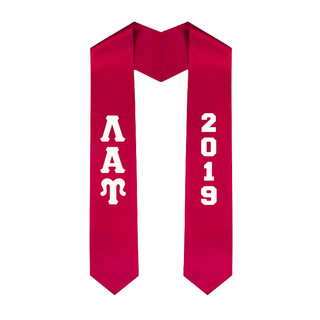 Lambda Alpha Upsilon Greek Lettered Graduation Sash Stole With Year - Best Value