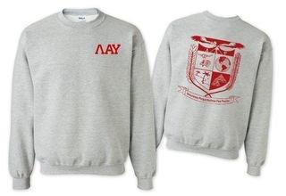Lambda Alpha Upsilon World Famous Crest - Shield Crewneck Sweatshirt- $25!