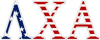 "Lambda Chi Alpha American Flag Greek Letter Sticker - 2.5"" Tall"